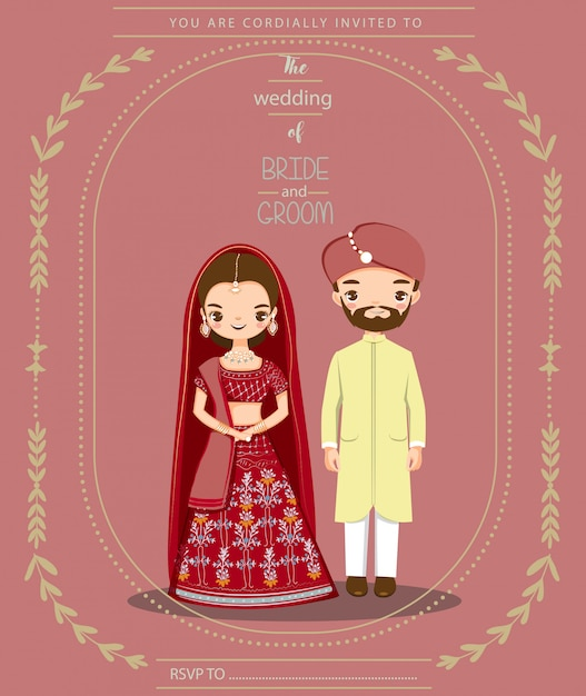 Cute indian couple for wedding invitations card Premium Vector