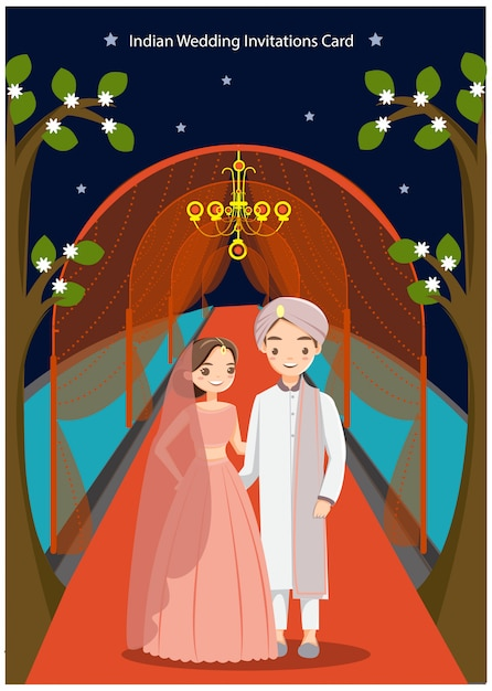 Cute Indian Wedding Couple For Wedding Card Vector Premium Download