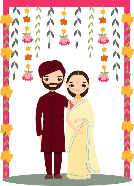 Cute Indian Wedding Couple For Invitations Card Vector