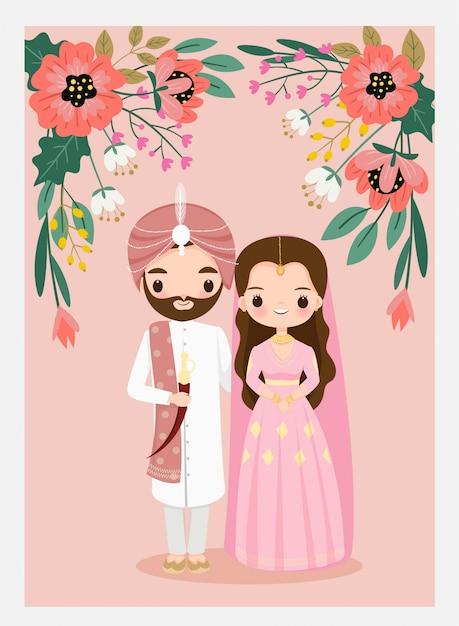 Симпатичные индийские свадебные пары на свадьбу Premium векторы