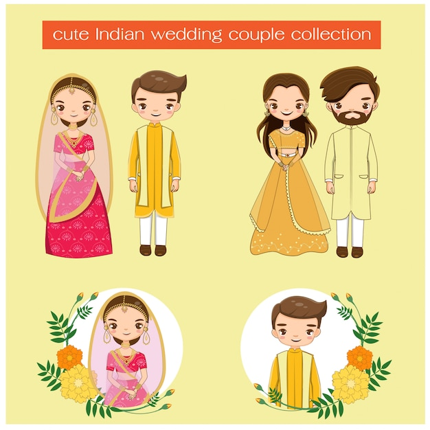 Cute indian wedding couple in traditional dress collection Premium Vector