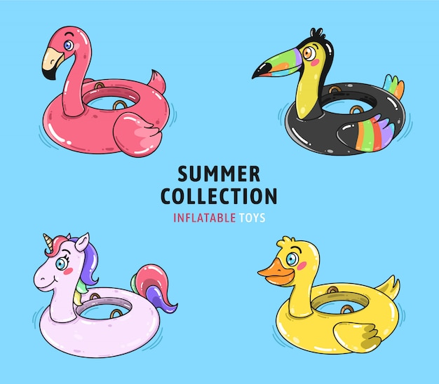 Cute inflatable pool toys collection vector Free Vector