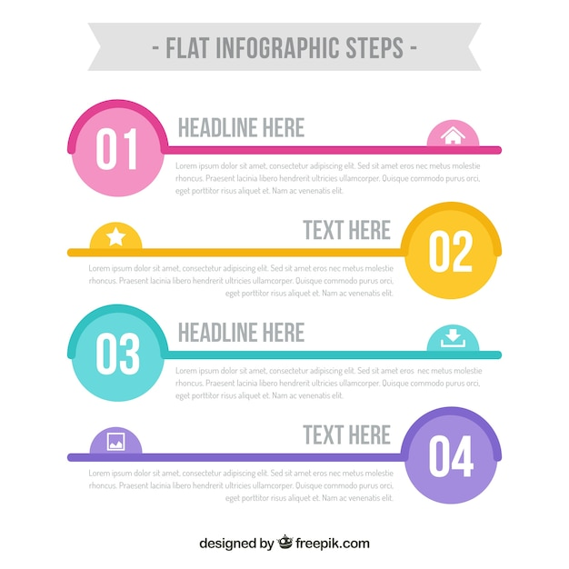 Cute infographic steps template Free Vector