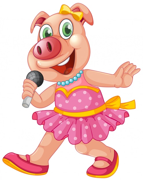 Cute isolated pig singing Free Vector