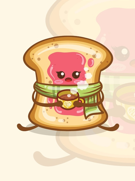 The cute, jam-covered white bread holding coffee cup. cartoon character. Premium Vector
