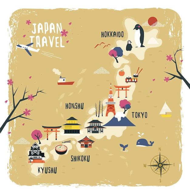 Симпатичный дизайн карты путешествия японии с достопримечательностями Premium векторы