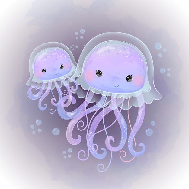 水彩でかわいいクラゲ母性図 Premiumベクター