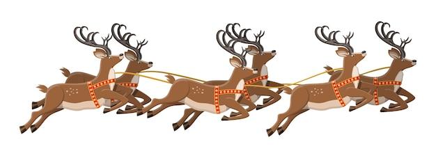Милый прыгающий олень с рогами иллюстрации Premium векторы