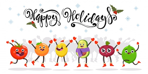 Cute jumping fruits and vegetables. happy holidays hand drawn text.  cartoon funny food character. Premium Vector