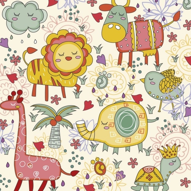 Cute jungle animals background vector free download for Classic jungle house for small animals