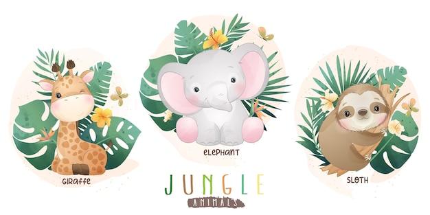 Симпатичные животные джунглей с цветочной коллекцией Premium векторы