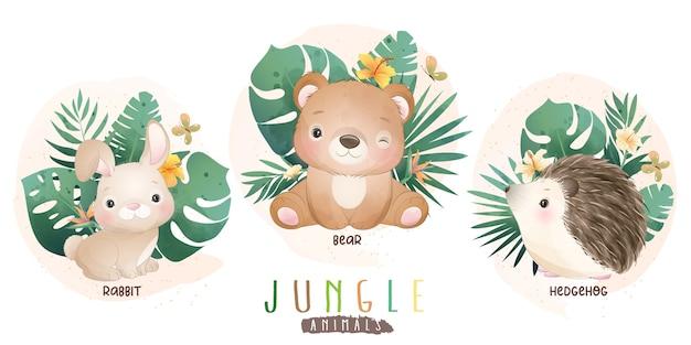 꽃 컬렉션과 귀여운 정글 동물 프리미엄 벡터