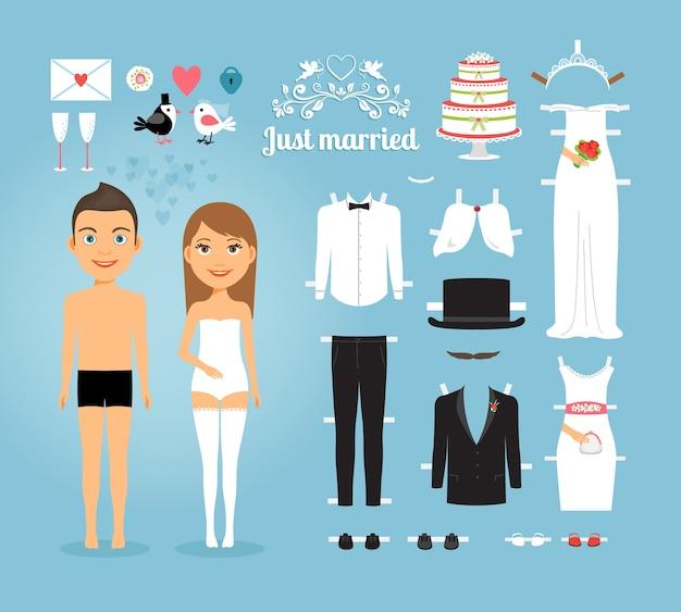 Bambole di carta coppia appena sposata carina con set di roba nuziale su sfondo blu cielo Vettore gratuito