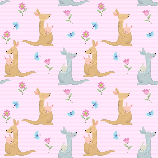 Cute kangaroo mom and baby seamless pattern Premium Vector