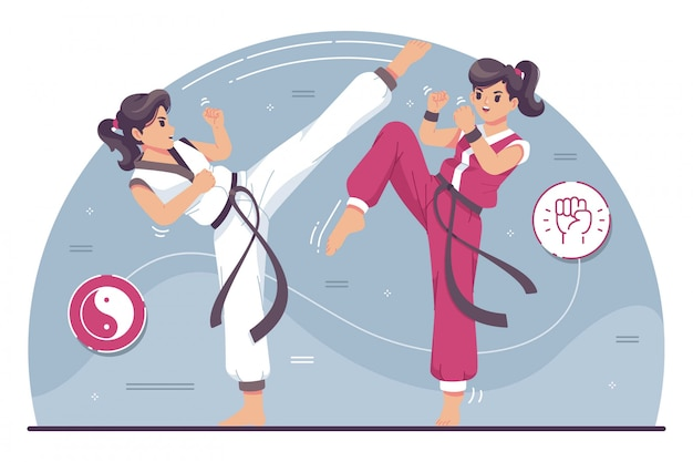 Cute karate fighters character illustration Premium Vector