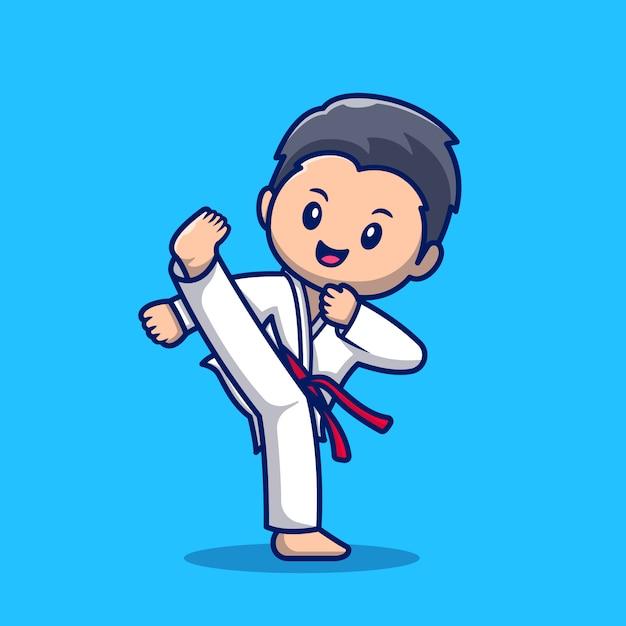 かわいい空手キッド漫画アイコンイラスト 人スポーツアイコンコンセプト分離プレミアム フラット漫画スタイル プレミアムベクター