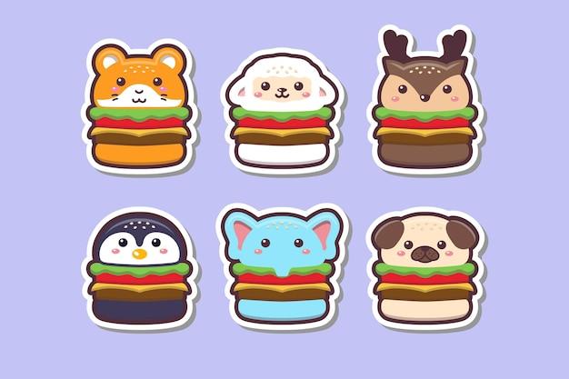 Симпатичные каваи животных бургер рисунок стикер набор иллюстрации Premium векторы