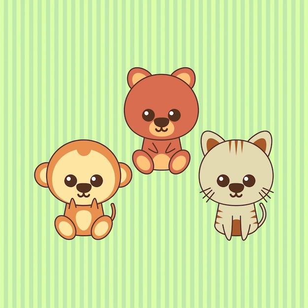 2b7a1157 Cute kawaii animal character design Vector | Premium Download