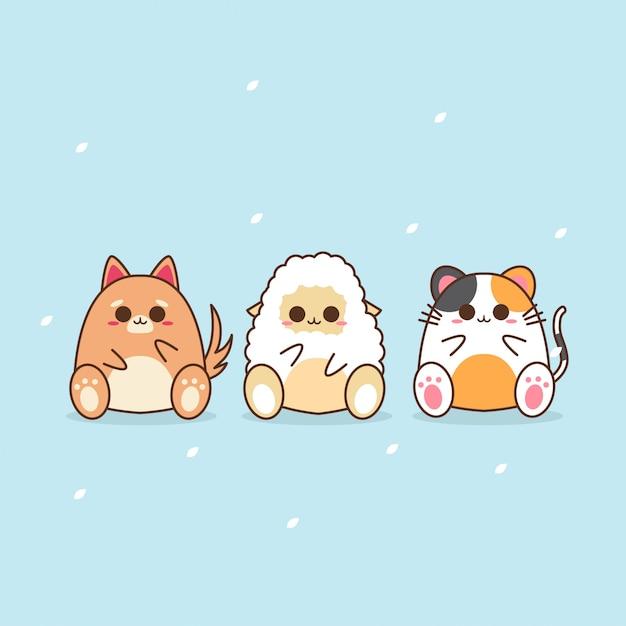 Cute kawaii animal character design Premium Vector