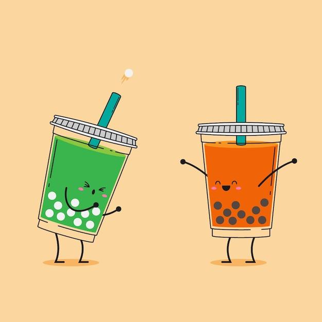 Симпатичные каваи пузырьковый чай иллюстрация Premium векторы