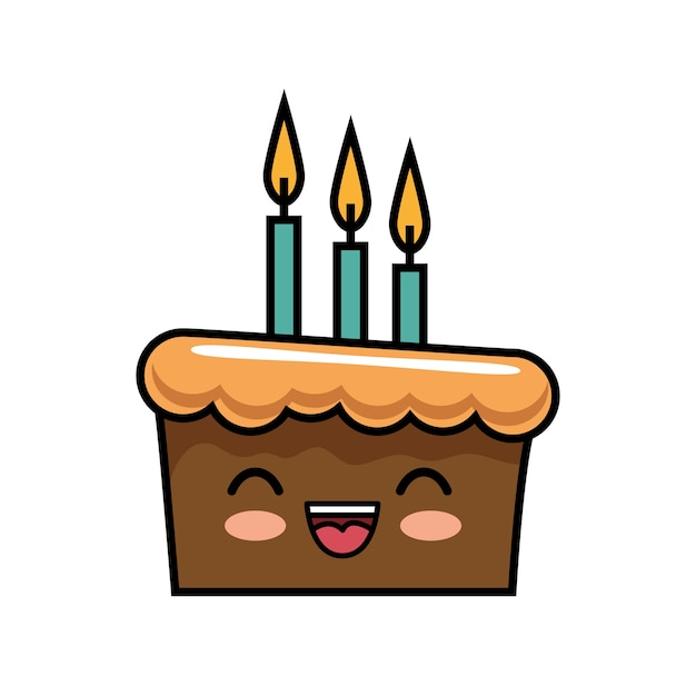 Cute kawaii cake chocolate candles happy Vector Premium Download