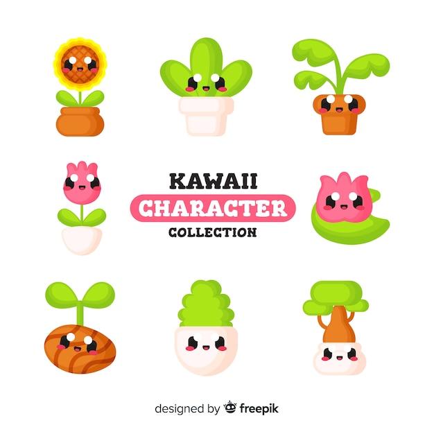 Cute kawaii characters Free Vector
