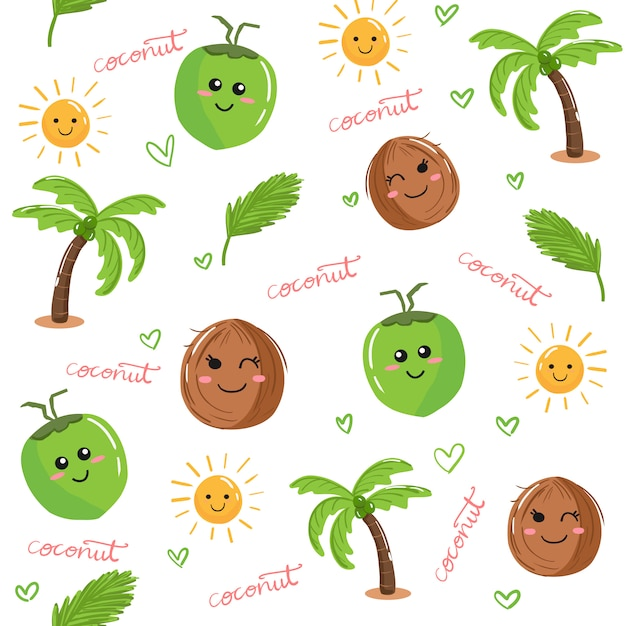 Cute kawaii coconut fruit and palm tree doodle seamless pattern background vector. Premium Vector