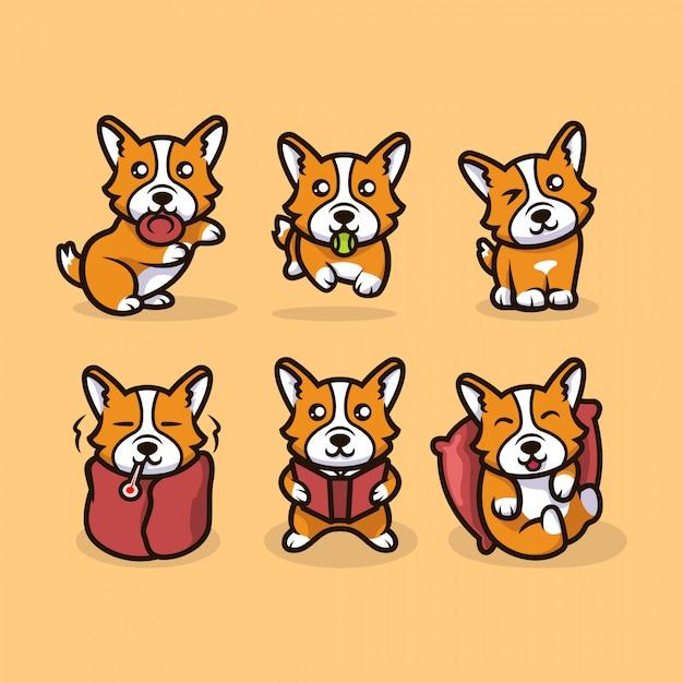 Симпатичный талисман собаки каваи корги Premium векторы