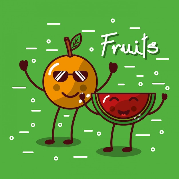 Cute kawaii fruits set smiling healthy food Premium Vector