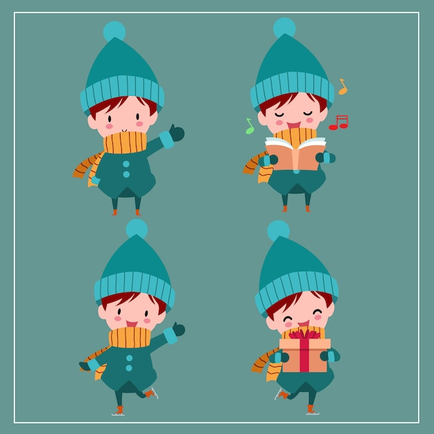 Cute kawaii hand drawn boys wearing winter costume with smiling and funny face in different poses Premium Vector