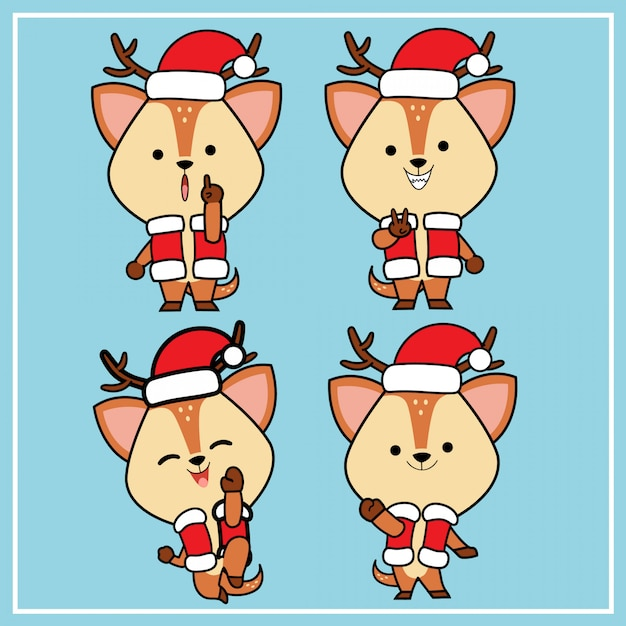 Cute kawaii hand drawn deer character with christmas hat collection Premium Vector