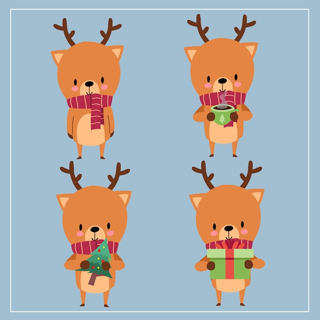 Cute kawaii hand drawn deer wearing scarf with smiling and funny face in different poses Premium Vector