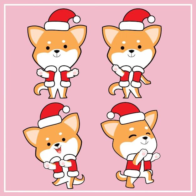 Cute kawaii hand drawn shiba inu dog character with christmas hat collection Premium Vector