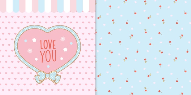 Cute kawaii heart shape frame with hearts and cherries seamless transparent pattern Premium Vector