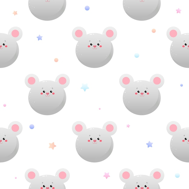 Cute kawaii mouse, rat. animal seamless pattern. Premium Vector