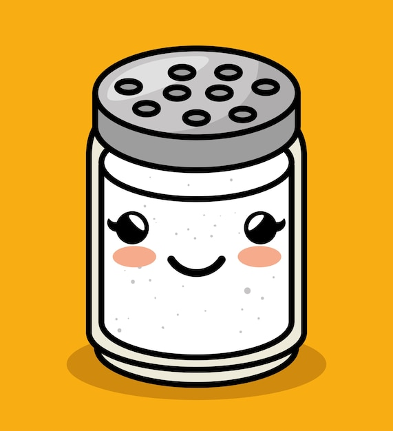 Cute kawaii salt meal Premium Vector