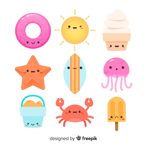 Cute kawaii summer character collection Premium Vector