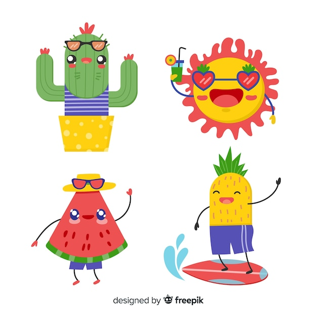 Cute kawaii summer characters collection Free Vector