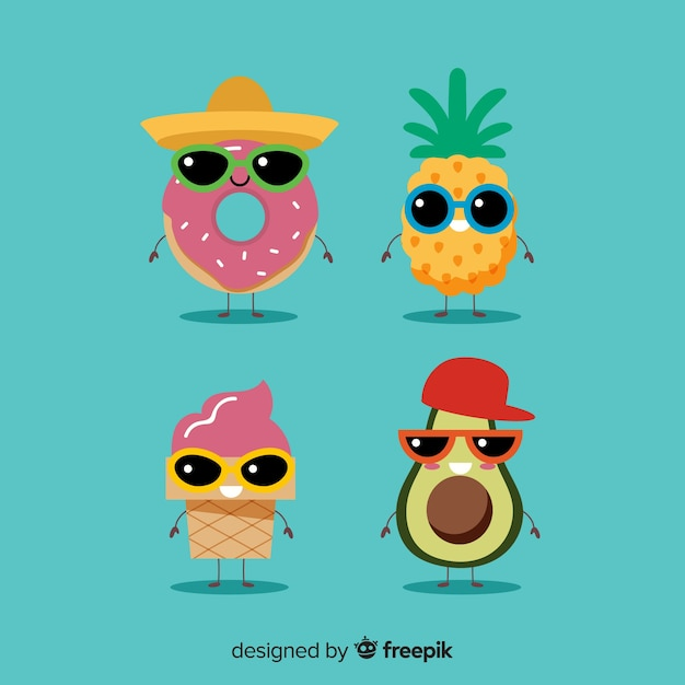 Cute kawaii summer characters collection Free Vector
