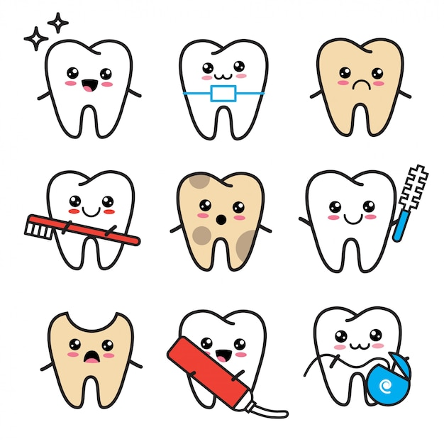 Cute kawaii tooth icon set. teeth with toothbrush, brace, toothpaste, decay, dental floss Premium Vector