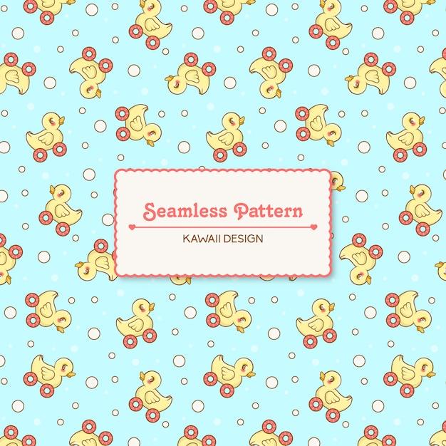 Cute kawaii toy duck transparent seamless pattern Premium Vector