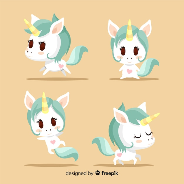 Cute kawaii unicorn character collection Vector | Free Download