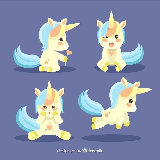 Cute kawaii unicorn character collection Free Vector