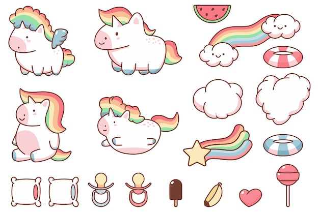 Cute kawaii unicorn and funny design elements  cartoon set isolated on a white background. Premium Vector