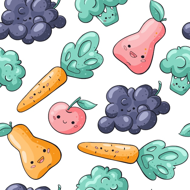 Cute kawaii vegetables and fruits seamless pattern on white Premium Vector