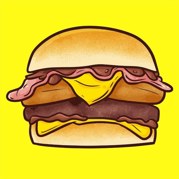キュートなカワイイおいしいビッグビーフチキンバーガーとチーズ Premiumベクター