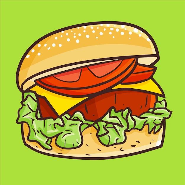 食べられる準備ができている厚い肉が付いているかわいいかわいいおいしいハンバーガー Premiumベクター