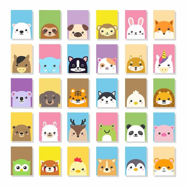 Cute kawii animal card vector drawing Premium Vector