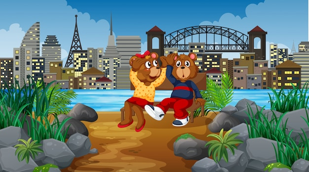 Cute kid bears in city scene Free Vector