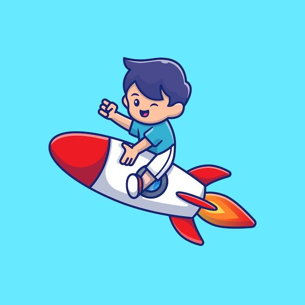 Милый ребенок езда ракета мультфильм значок иллюстрации. люди и концепция образования значок изолированы. плоский мультяшный стиль Premium векторы